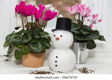still life at christmas with snowman