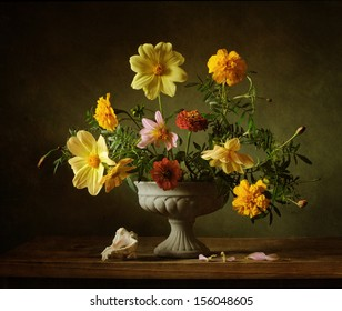 Still life with a classical bouquet of flowers