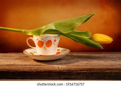 Still life of a closed yellow tulip placed on an orange and white ornate pottery cup on a barn wood table in front of a backdrop
