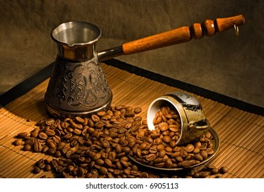 Still life with coffee and cezve