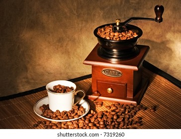 Still life with coffee and grinder