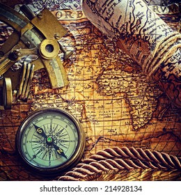 still life with compass,and old map.map  Author: Abraham Ortelius (1527-1598)  instagram  effect