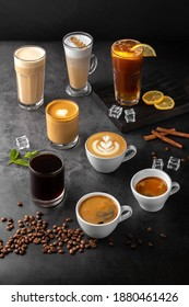still life composition with glasses and cups of espresso, latte americano, brewed, raf coffee, cappuccino with rosetta latte and green matcha art and roasted coffee beans on a black marble background - Shutterstock ID 1880461426