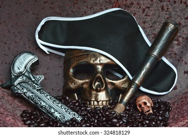 STILL LIFE CONCEPT HUMAN SKULL MASK IN LOOK OF THE PIRATE WITH BLACK HAT , OLD VINTAGE HANDGUN AND OLD VINTAGE LONG RANGE SCOPE , RUSTY IRON BACKGROUND