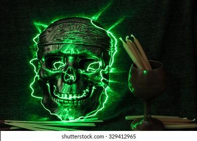 still life concept human skull mask on dark background, Halloween background
