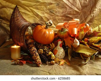 Still life with Cornucopia and colorful autumn vegetables