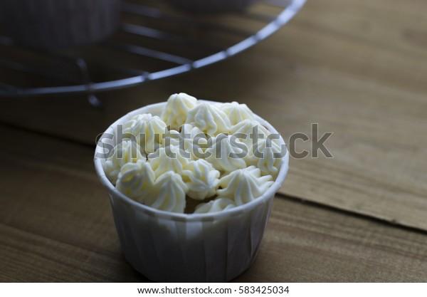 still life of cupcakes  a  tray