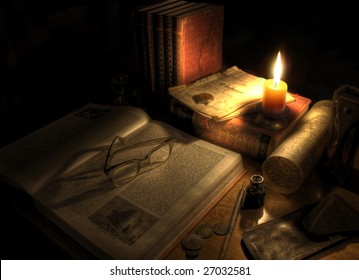 Still life of desktop with pen and ink, candle,map and sand glass. Antique setting.