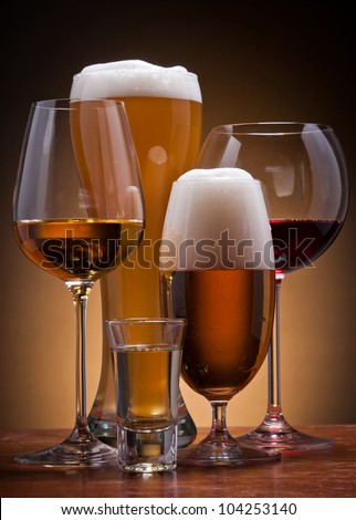 still life with different alcoholic drinks