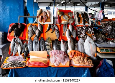 Still life with different types of fresh fish, fresh fish in Lima Peru.