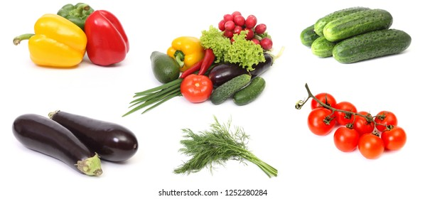 Still life of different vegetables on a white background
