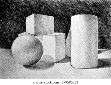 Still life drawing with simple geometric volumes