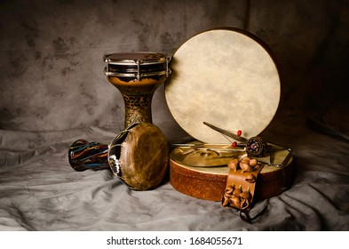Still life of ethnic percussion musical instruments