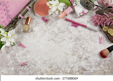 Still life of fashion woman. Feminine fashion cosmetic objects and background