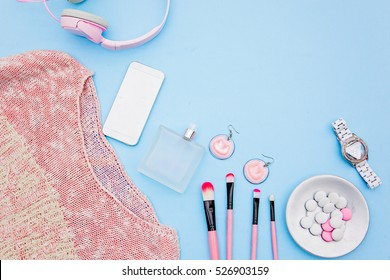 Still life of fashion woman, top view of fashion woman. Concept of female mockup