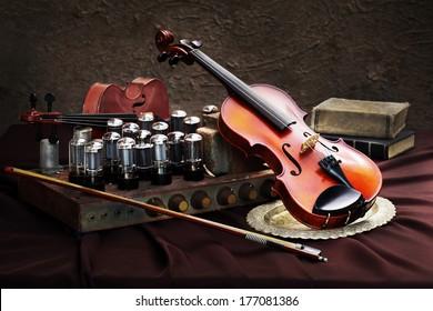 Still life fine art photography on musician technology concept