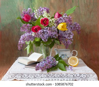 Still life with flowers bunch and books. Teacher's day concept