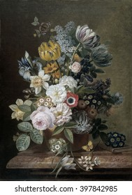 Still Life with Flowers, by Eelke Jelles Eelkema, c. 1815-39, Dutch oil painting, oil on canvas. Bouquet of roses, tulips, daffodils, irises, on a stone plinth. Among the flowers is a butterfly. A sma