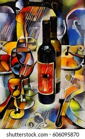 Still life of food, glasses and wine. Fine art in the form of abstraction in the style of cubism. Executed in oil on canvas with elements of pastel painting.