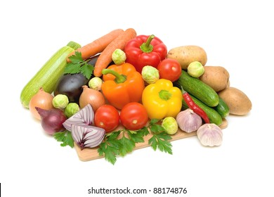 still life of fresh vegetables on a white background closeup