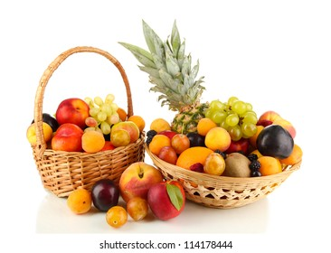 Still life of fruit in basket isolated on white
