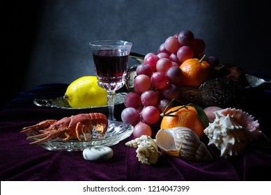 Still life with fruit, wine and cancer