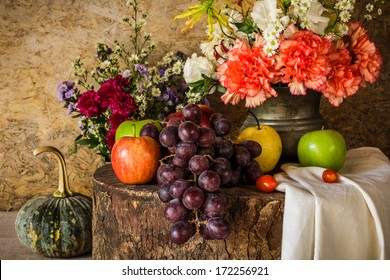 Still Life With Fruits Were Placed Together A Vase Of Flowers Beautifully