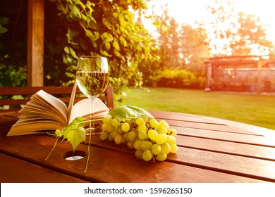 still life glass of wine and a book at sunset, wine glass and old open book on wooden table at sunset burst