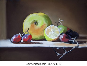 Still life with grapes, apple and lemon. Original pastel painting on paper