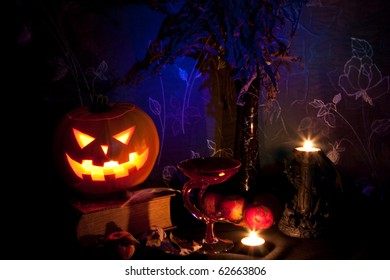 Still life with halloween pumpkin