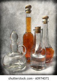 Still Life with homemade wine and vodka -artwork in painting style . ideal for your project or menu