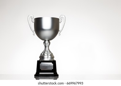 still life image of single trophy shot in the studio on white background