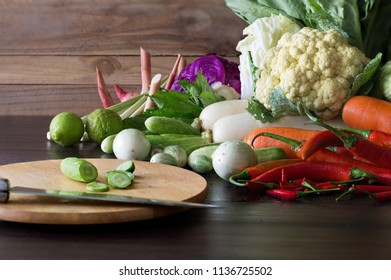 Still Life image of Vegetables on wooden table in the kitchen / Still Life Image
