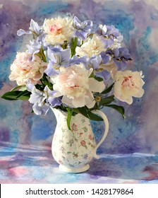 still life with irises and peonies, watercolor, painting picture iris