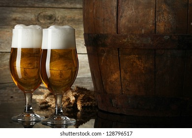 Still Life with a keg of beer and beer in the glass