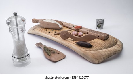 Still life with kitchen utensils made of wood