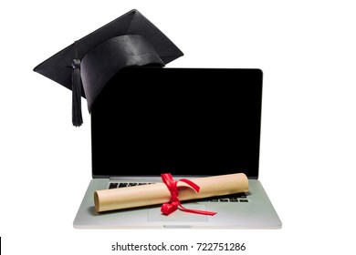 Still life laptop with graduation cap and roll of diploma paper isolated on white paper. Image save two clipping paths, white background and monitor.