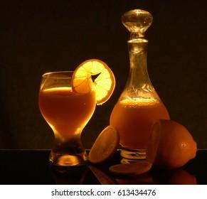 Still life with lemon juice