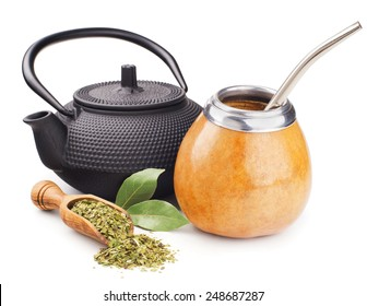 still life with mate yerba and teapot isolated on white