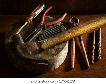 Still life of mechanic and carpentry tools