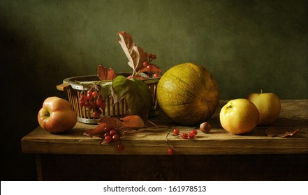 Still life with a melon and apples