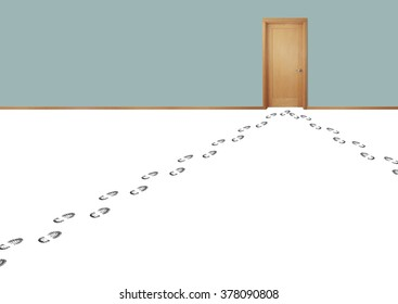 Still life of Multiple Footprints From People Leading to a Door