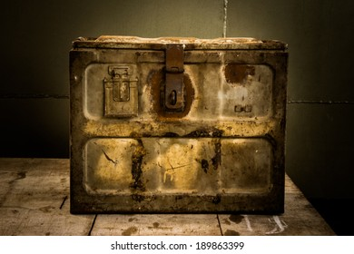 Still life with old box is rust for vintage