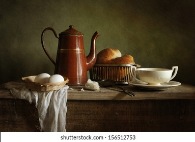 Still life with an old coffee pot