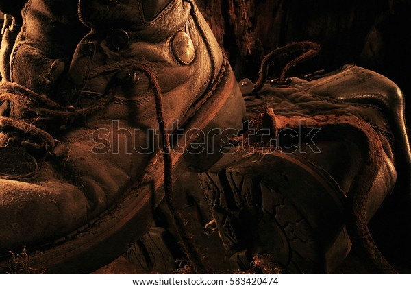 Still Life Old Reliable men's boots in the dust on the background of wooden snag