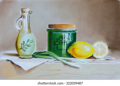 Still life with olive oil, citruses, onion and ceramic pot. Original pastel painting