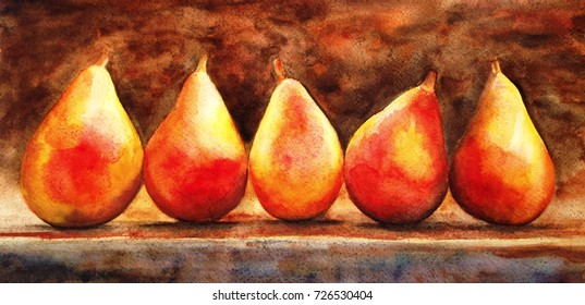 Still life of pears. Appetizing juicy pears lighted by bright rays of the sun lie on the table, painted with watercolor hands