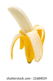 still life of peeled banana on white background with clipping path
