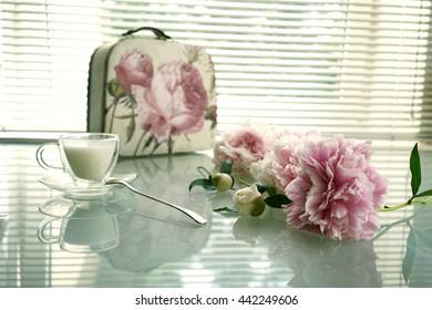 still life, peony, handbag and cup of milk