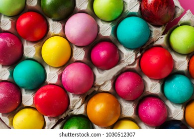 Still life photo of lots of colorful easter eggs